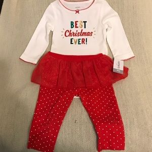 Two-piece infant Christmas outfit